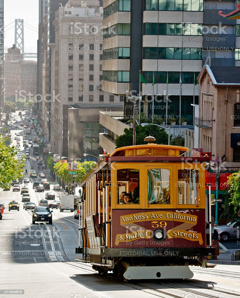 Cable Car on San Francisco Street royalty-free stock photo