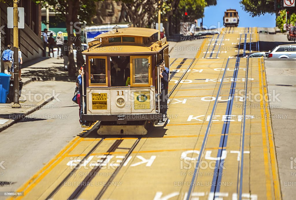 Cable Car on San Francisco Street stock photo