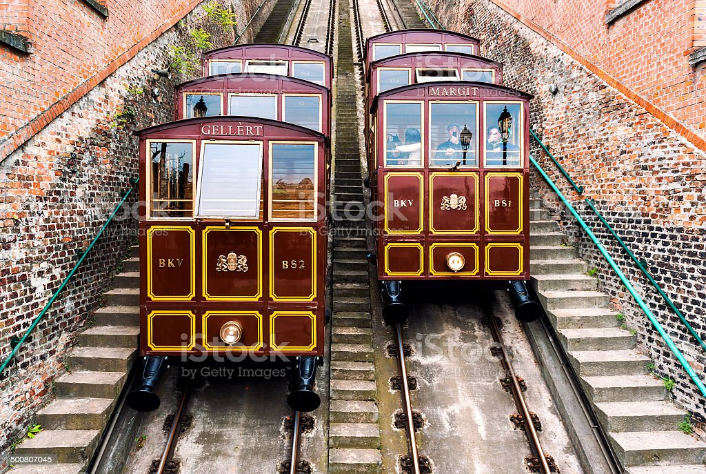 Cable Car on the Castle Hill. Budapest, Hungary stock photo