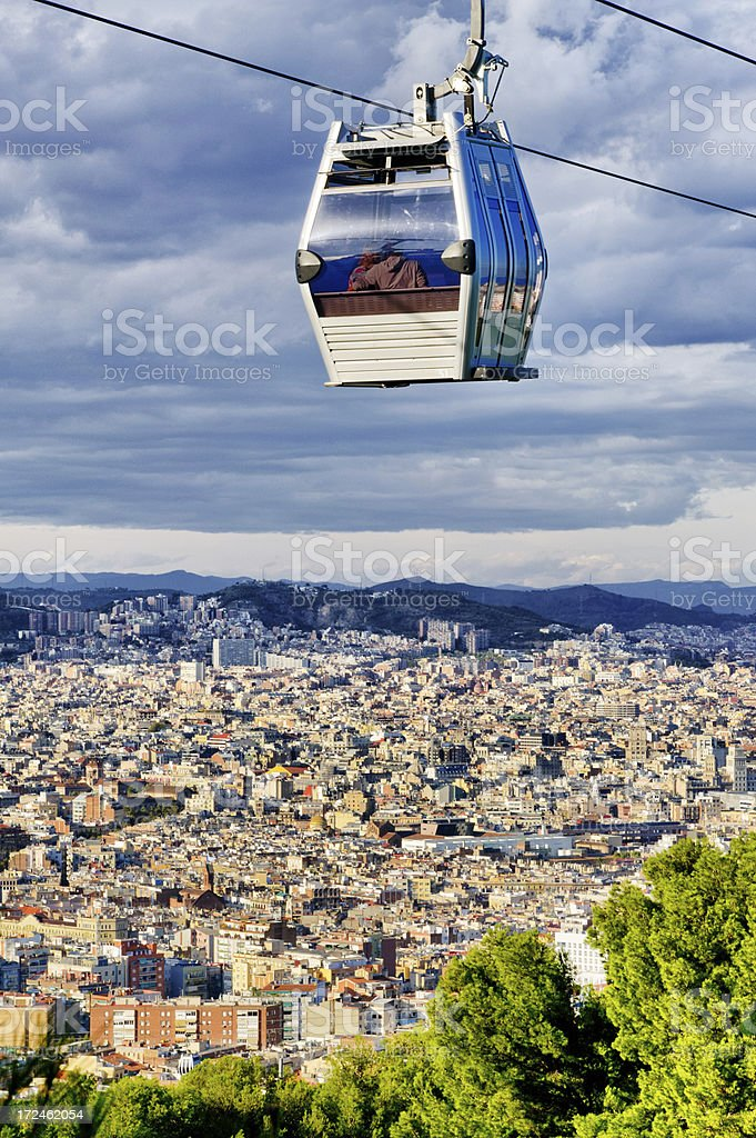 Cable Car Over Barcelona, Spain stock photo