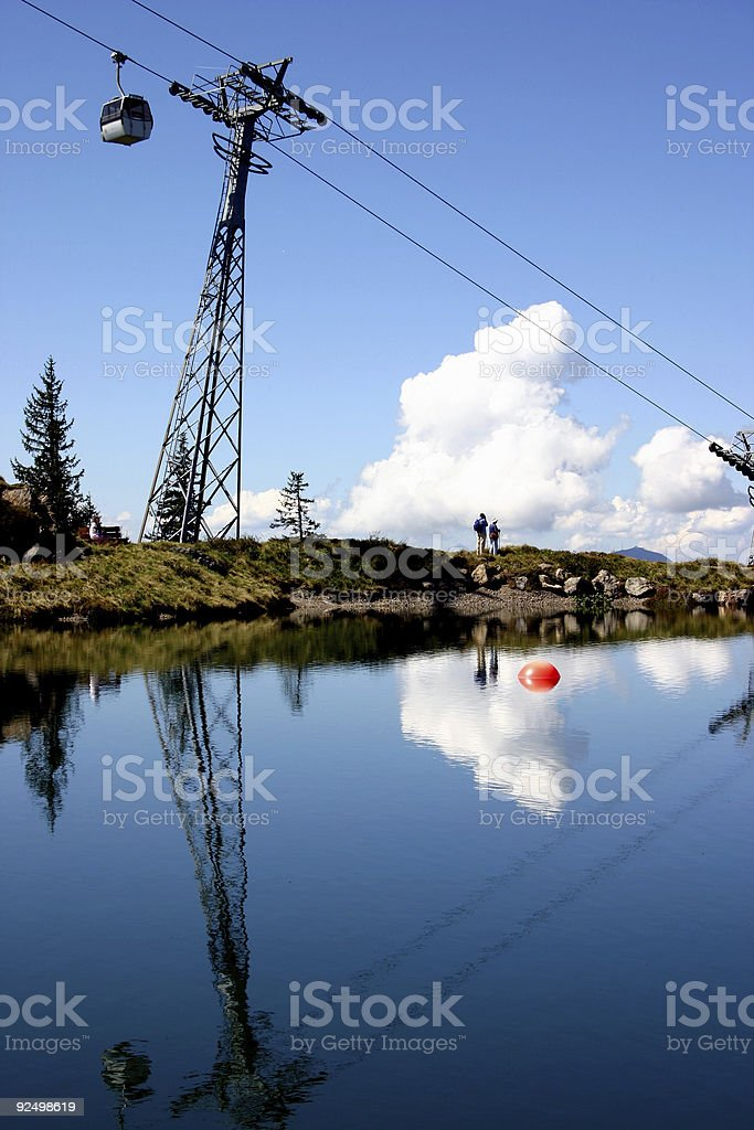 Cable car over lake royalty-free stock photo