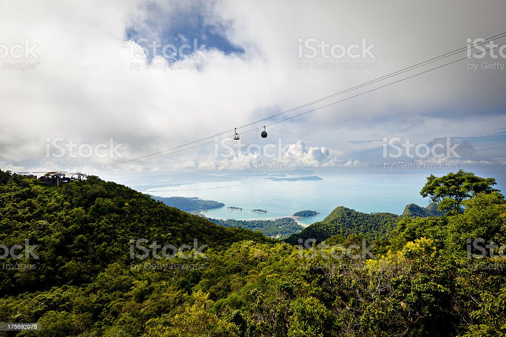 cable car over langkawi island stock photo