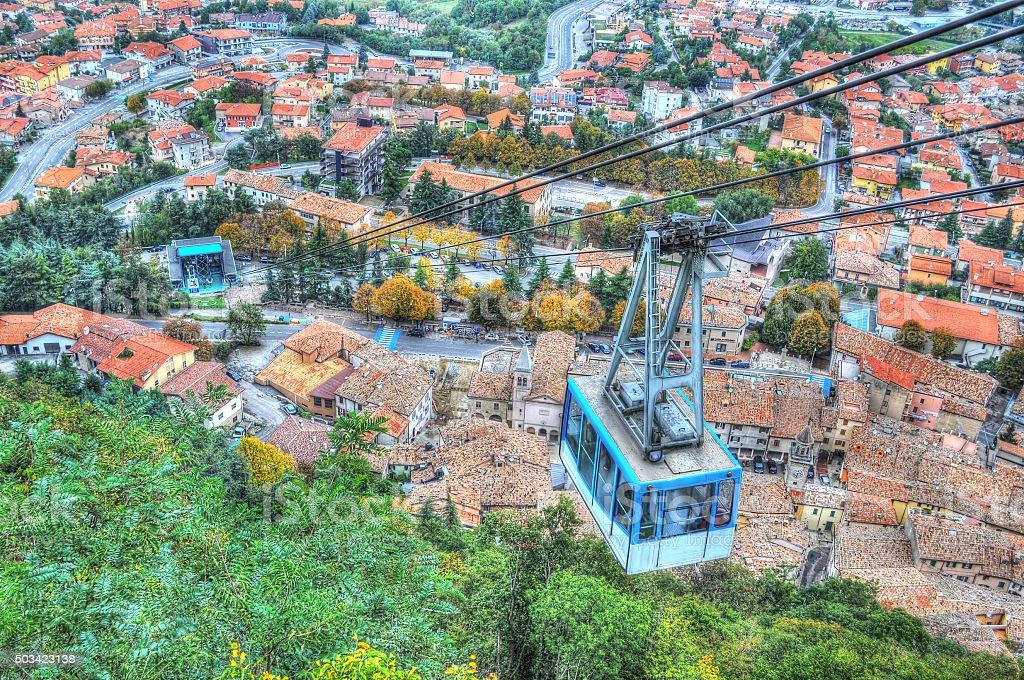 Cable car over San Marino stock photo
