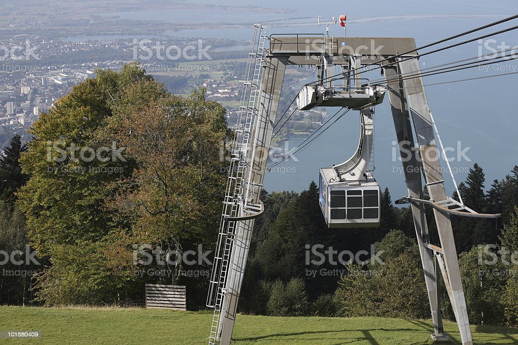 Cable Car Pf?nder Bregenz Top View stock photo
