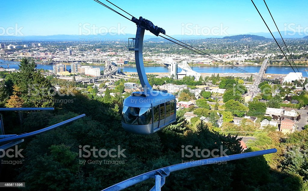 Cable car. Portland Oregon stock photo