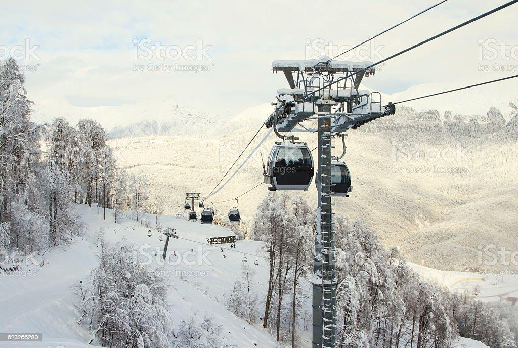 Cable Car railway in ski resort Sochi, Roza Khutor stock photo