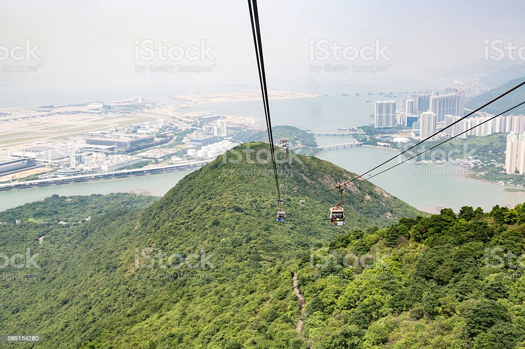 Cable Car Ride Over the Mountains of Lantau stock photo