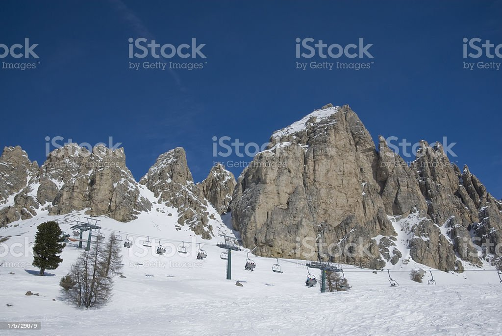 Cable car running alongside piste royalty-free stock photo