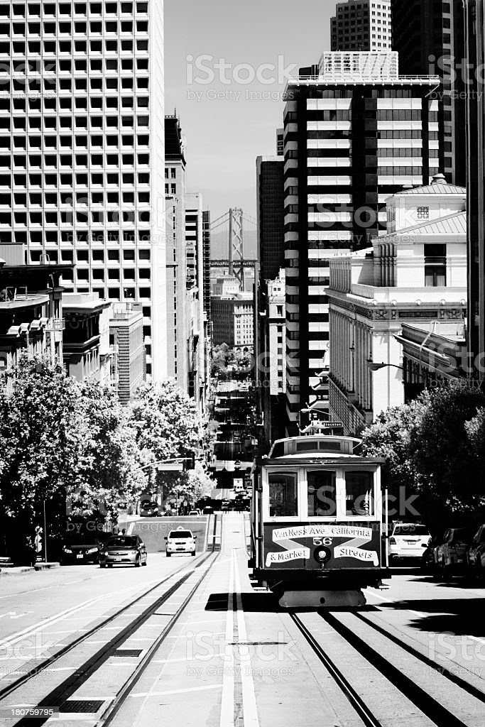 Cable Car, San Francisco. Black And White. royalty-free stock photo
