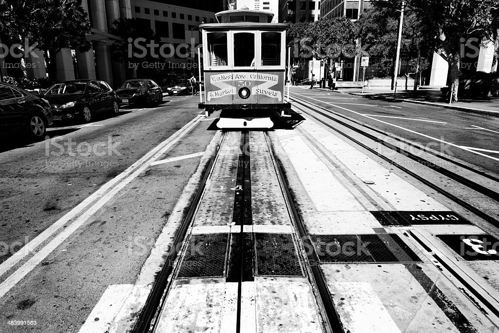 Cable Car, San Francisco. Black And White royalty-free stock photo