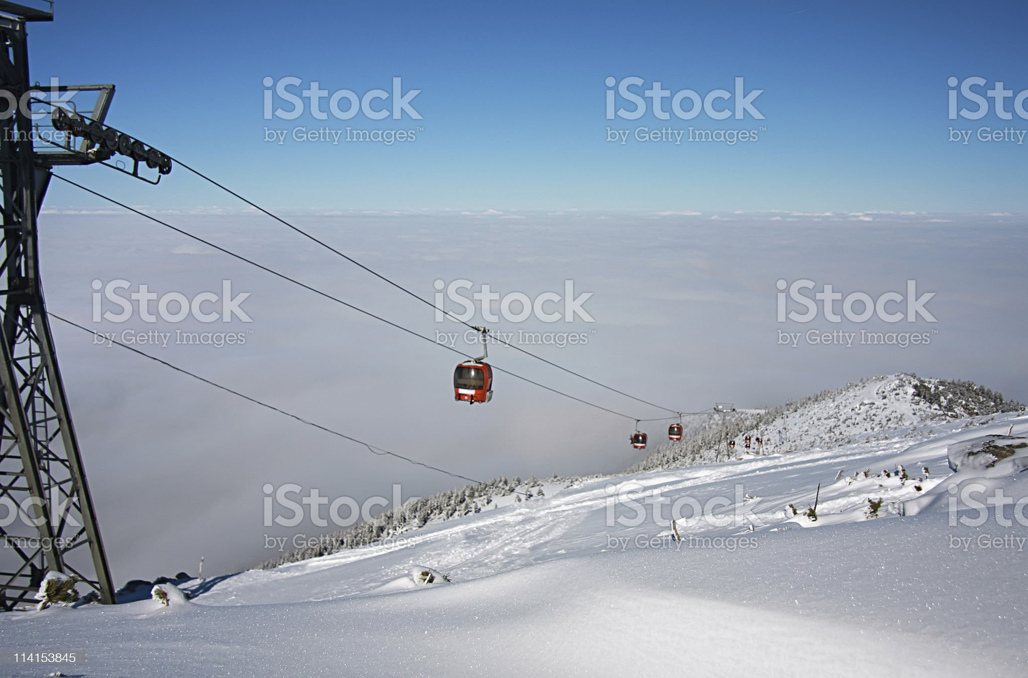 Cable car ski lift over mountain landscape royalty-free stock photo