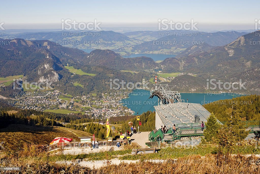 Cable car station and view from a mountain stock photo