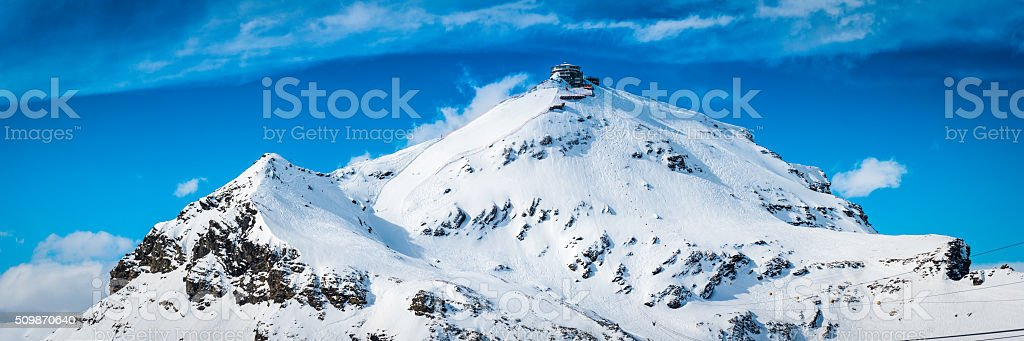 Cable car station on snowy mountain peak Schilthorn Alps Switzerland stock photo