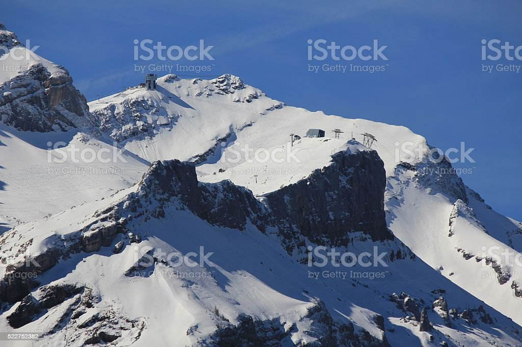 Cable car station Scex Rouge, ski area stock photo