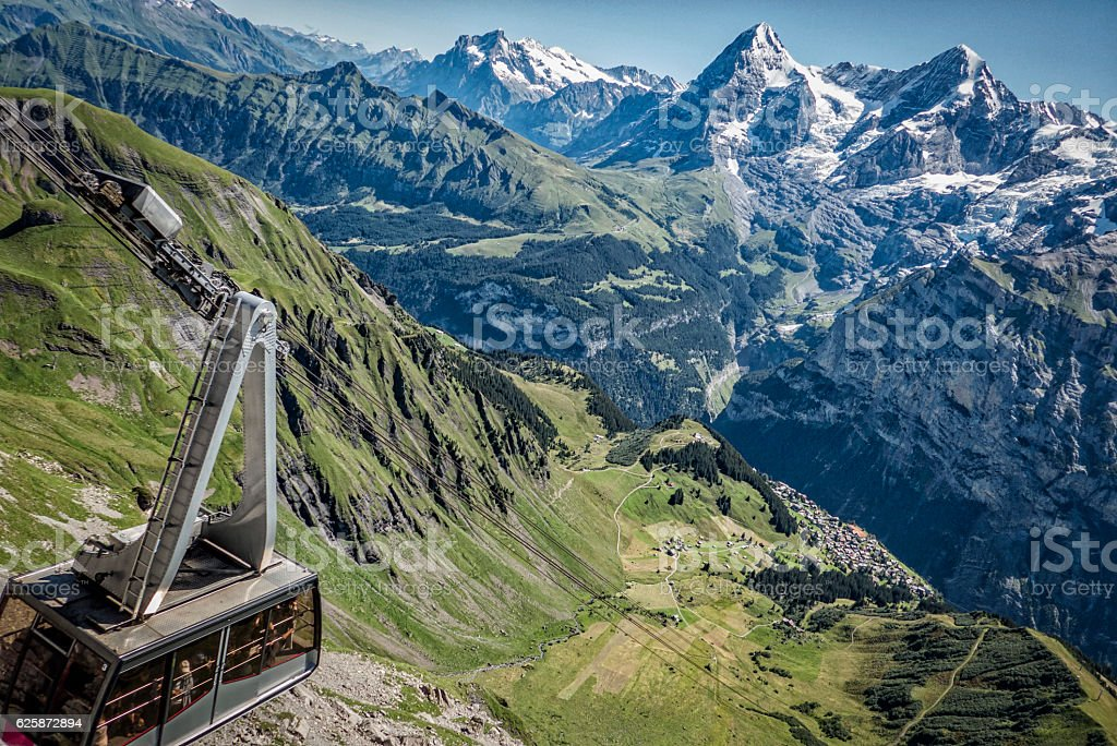 cable car, swiss alps, bernese oberland, switzerland stock photo