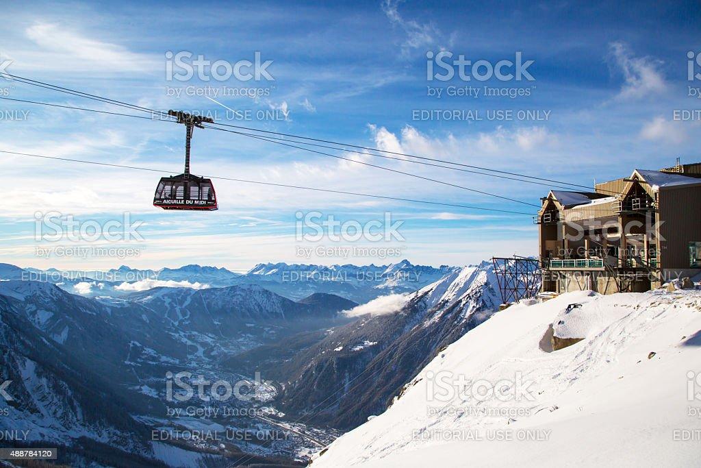 Cable Car Telepherique Aiguille du Midi stock photo