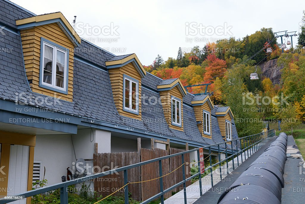 Cable car terminal in Mont Tremblant resort village stock photo