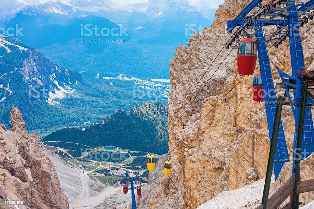 Cable car terminus in the Dolomites stock photo