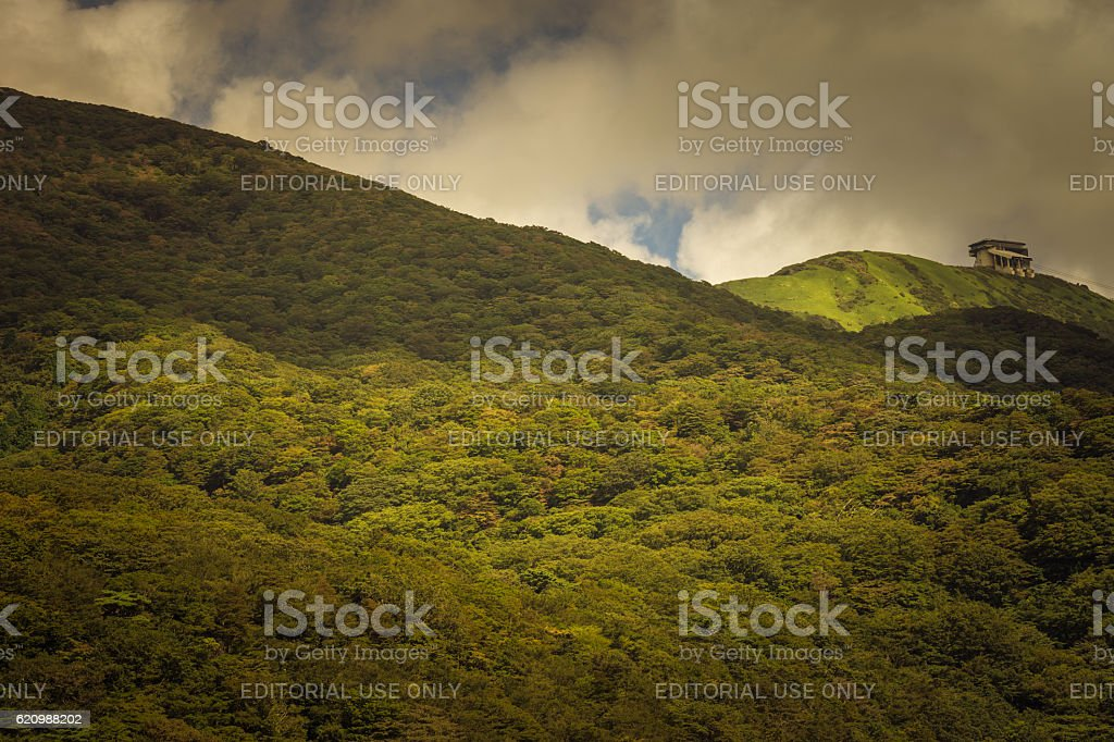 Cable car terminus on Mount Komagatake. stock photo
