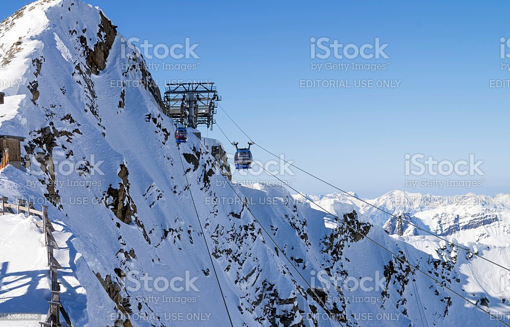 Cable car that leads to the top of Hintertux Glacier. stock photo