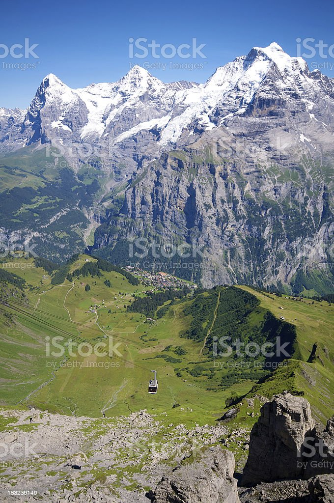 Cable car to the Schilthorn royalty-free stock photo