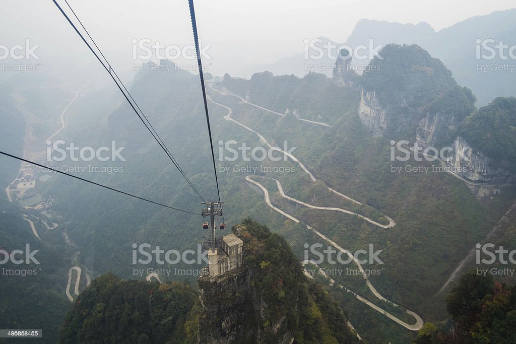 Cable Car to Tienmen Mountain stock photo