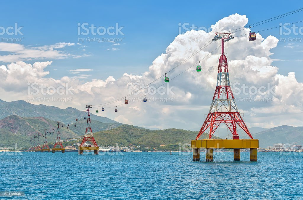 Cable car to Vinpearl amusement park in the morning stock photo