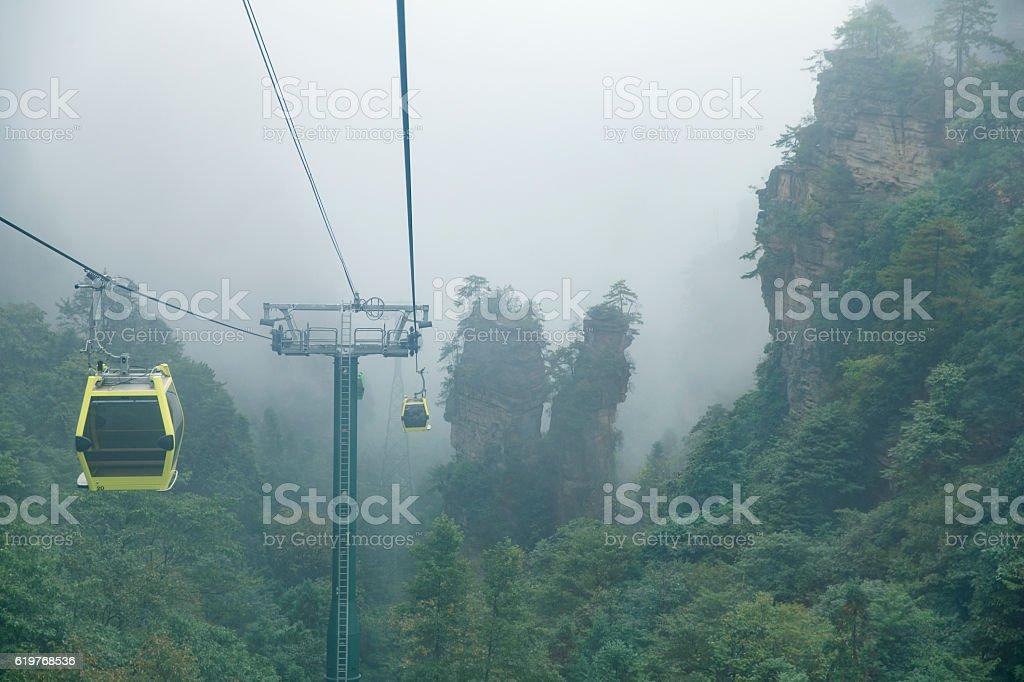 Cable car to Zhangjiajie Wulingyuan summit stock photo