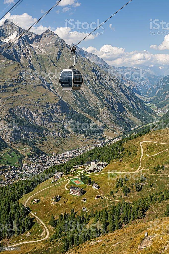 Cable car (gondola) toward Furi-Zermatt - XXI stock photo