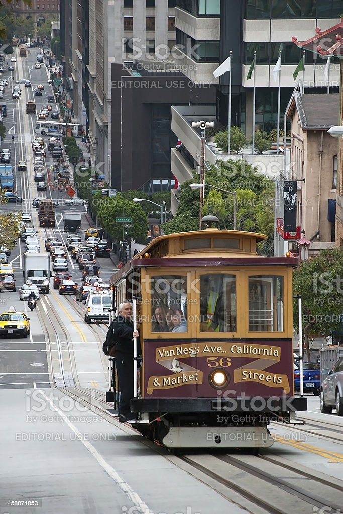 Cable car tram in San Francisco royalty-free stock photo