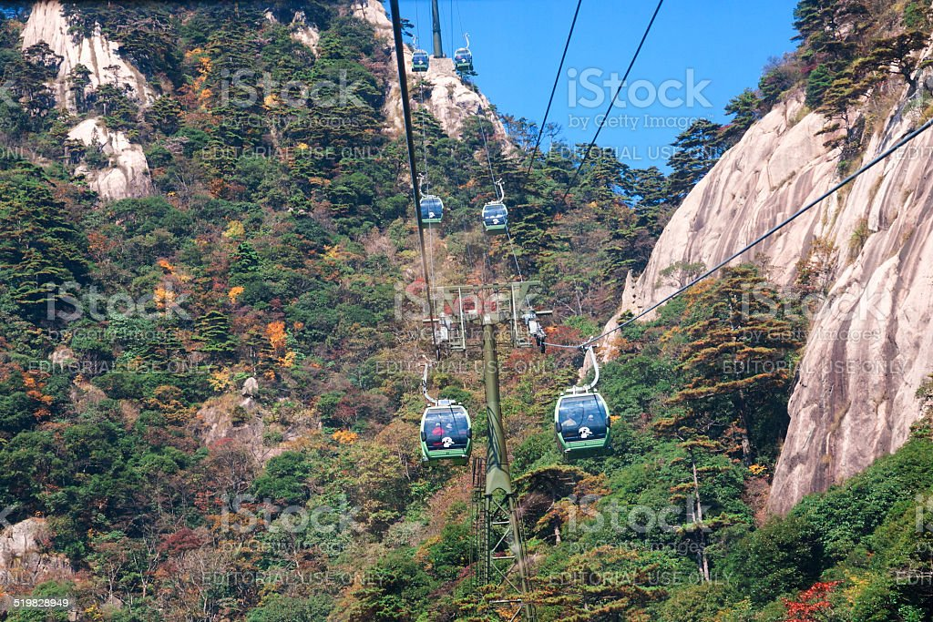 Cable car up Yellow Mountain, China stock photo