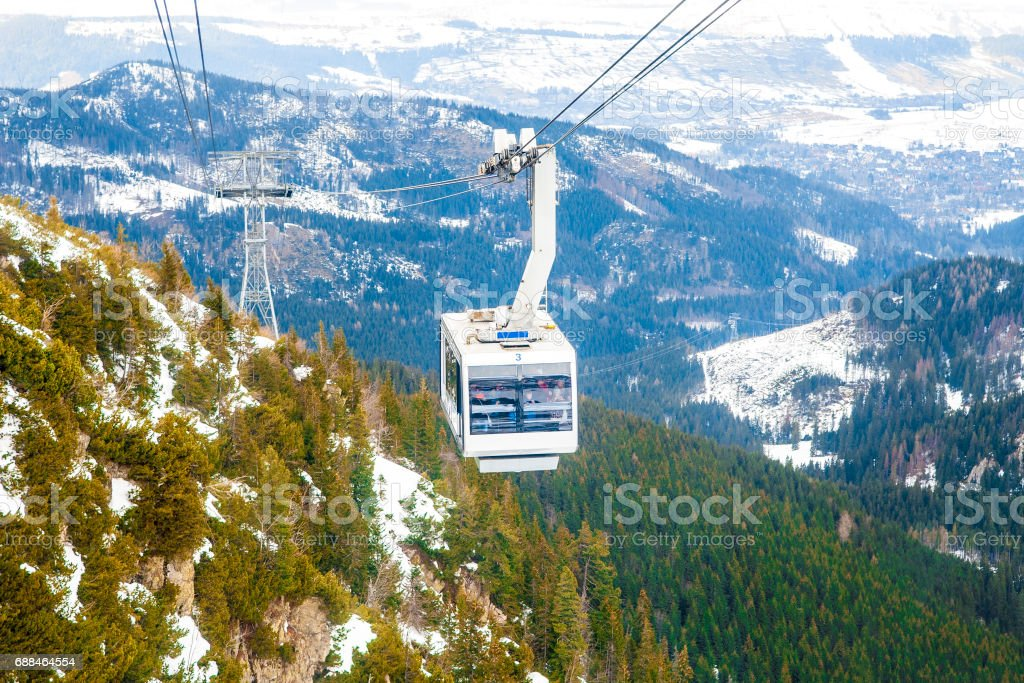 Cable Car Winter stock photo