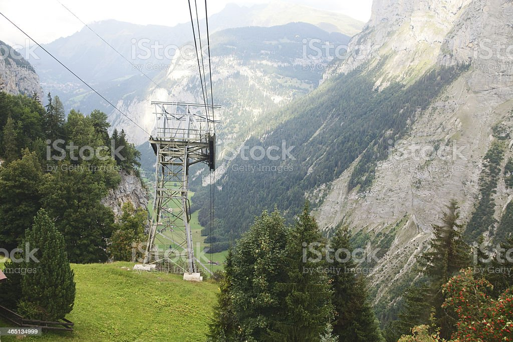 Cable Car Wires in Gimmelwald, Switzerland stock photo