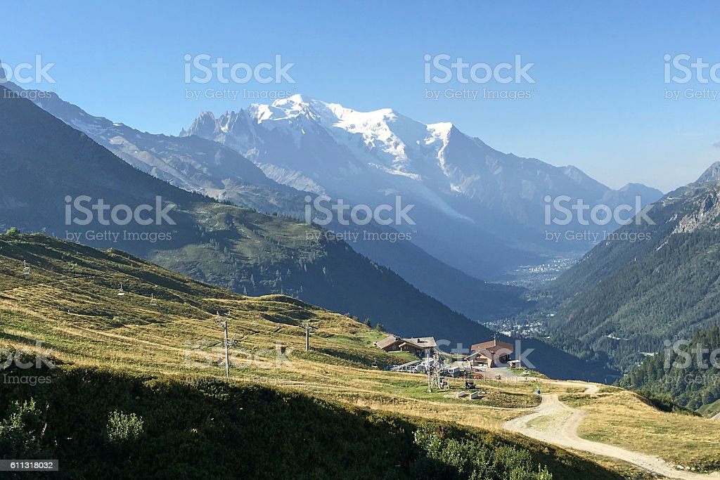 Cable Cars Above Chamonix Valley with Mont Blanc in Background stock photo