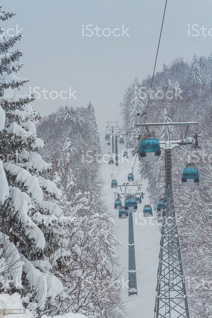 Cable cars going up and down. stock photo