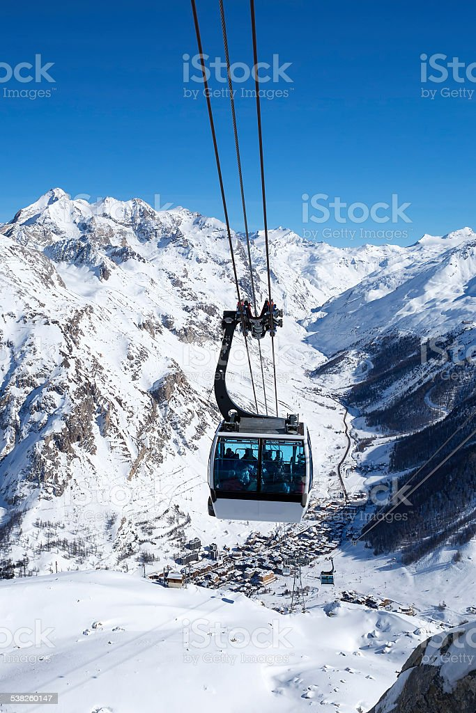 cable cars in a mountain area stock photo