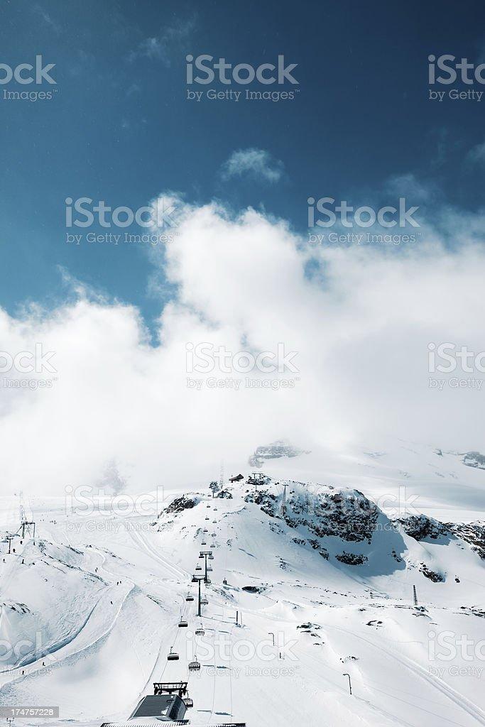 Cable cars  in Zermatt ski area, Matterhorn royalty-free stock photo