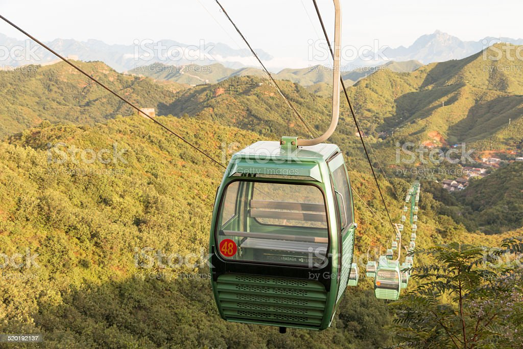 cable cars moving down near great wall stock photo