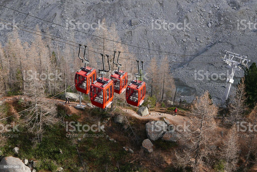 Cable cars pooled together stock photo