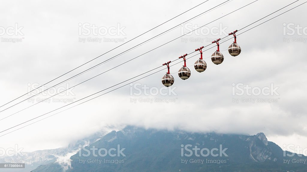 cable cars that links the Bastille with the city cen stock photo