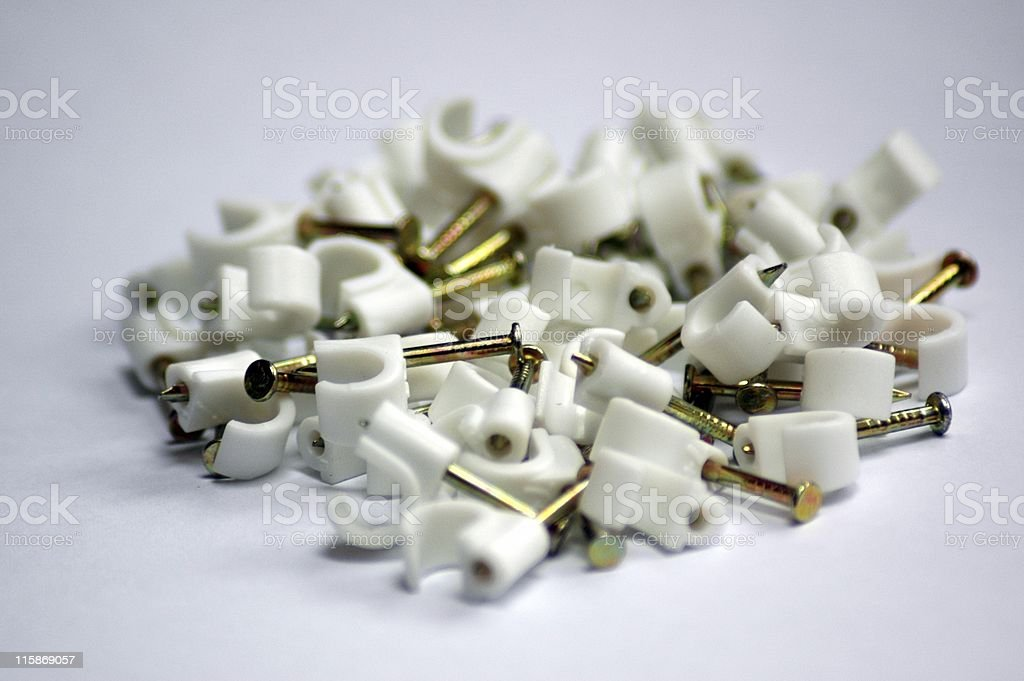 Cable clips royalty-free stock photo