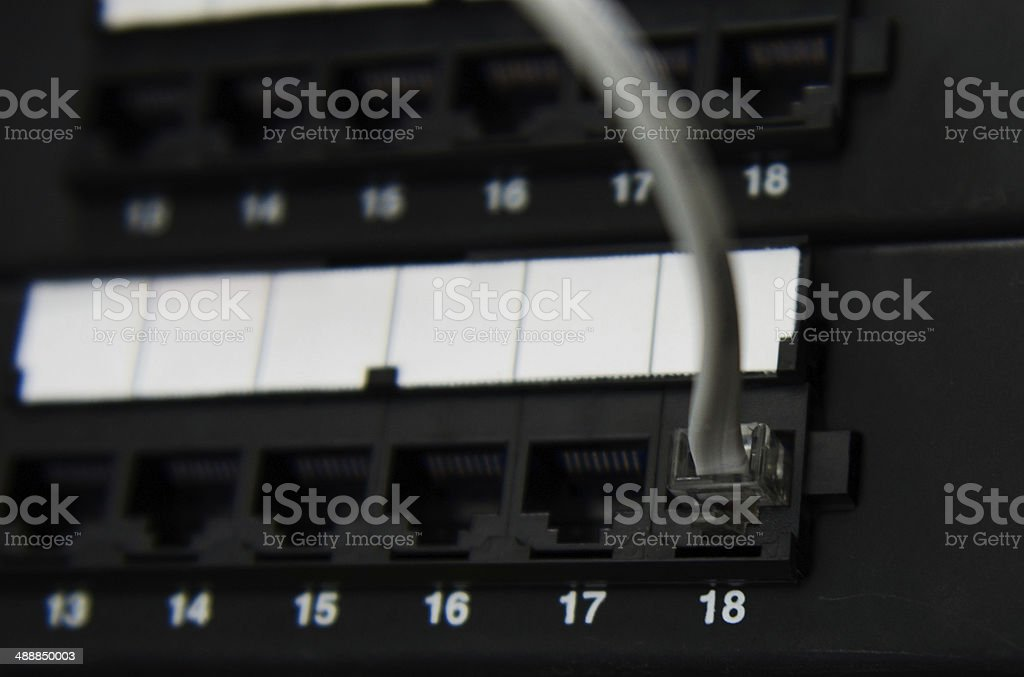 RJ11 cable connect to panel stock photo