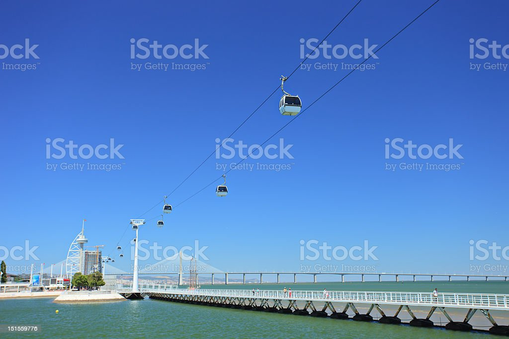 Cable ferry in expo 98, Lisbon royalty-free stock photo