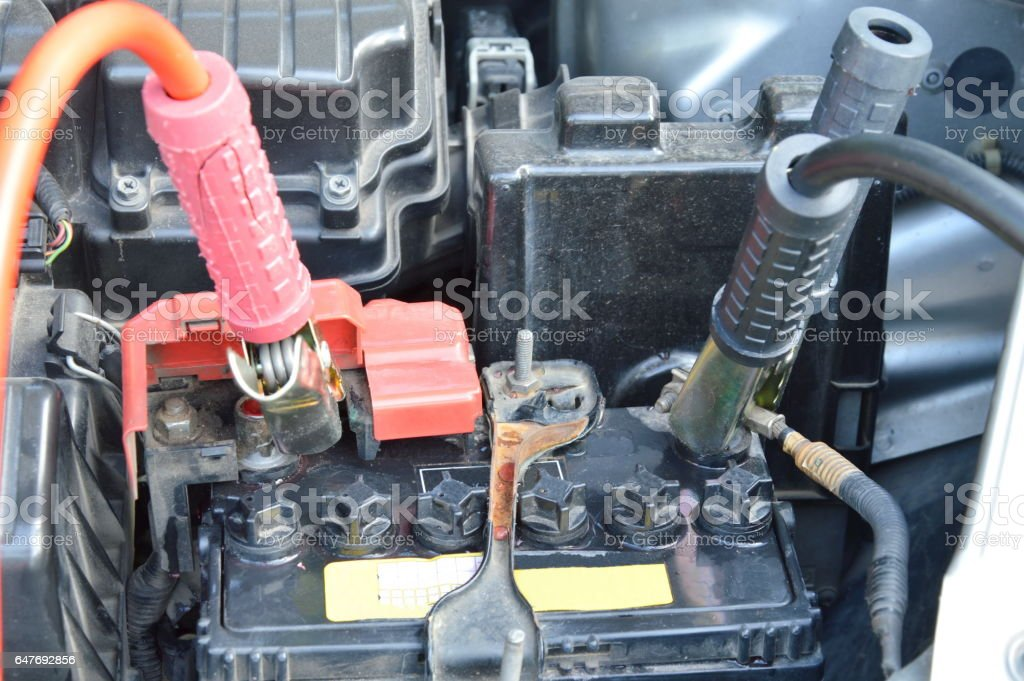 cable for charge dead car battery to push start stock photo