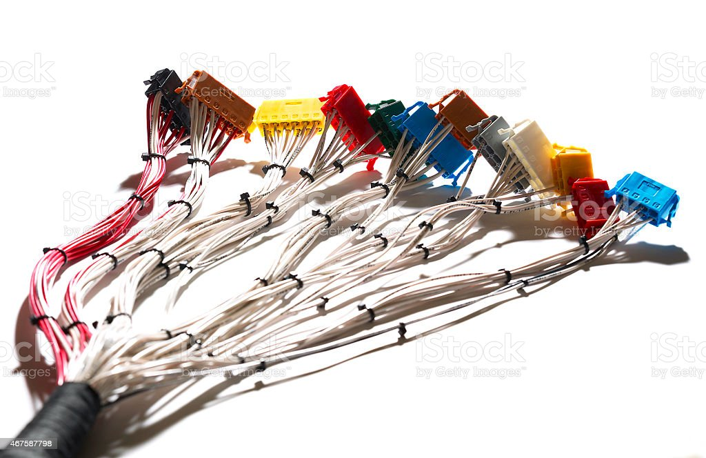 Cable harness, loom with connectors stock photo