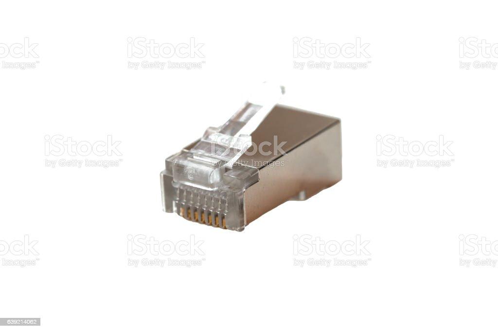 Cable head into (head rj45),network,RJ45,plug. Isolated. Close-up stock photo