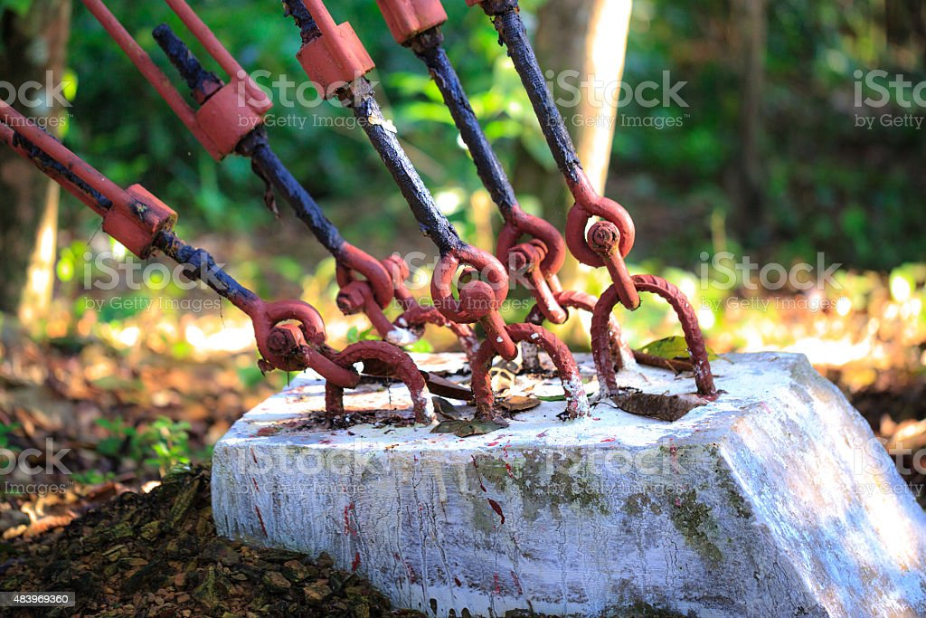 Cable holding power poles stock photo
