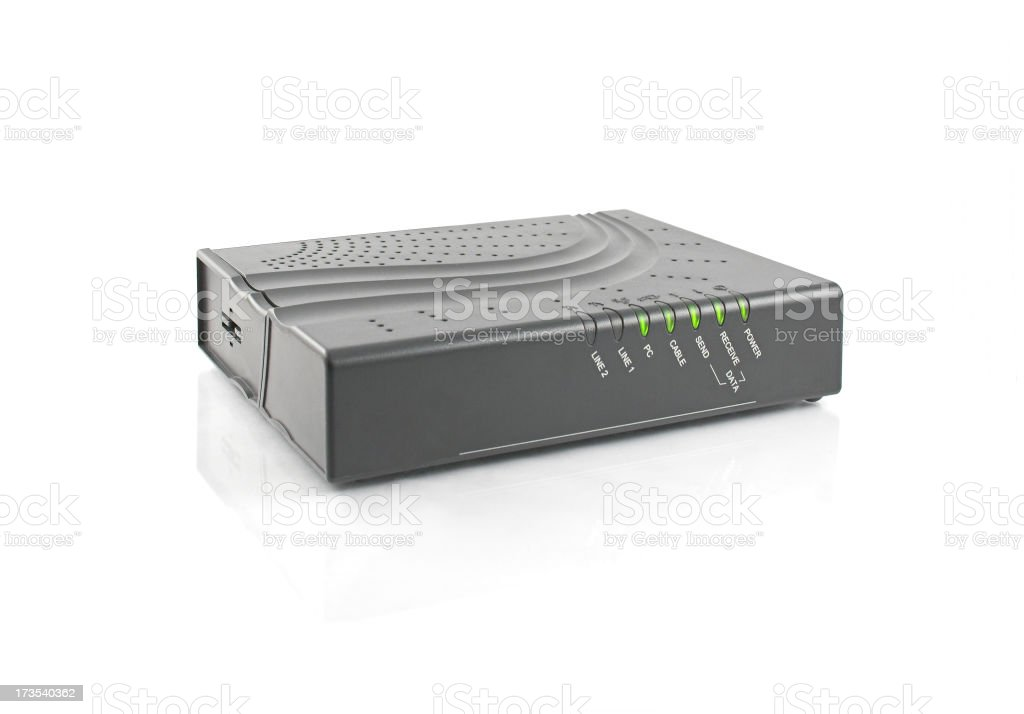 cable modem in horizontal position stock photo