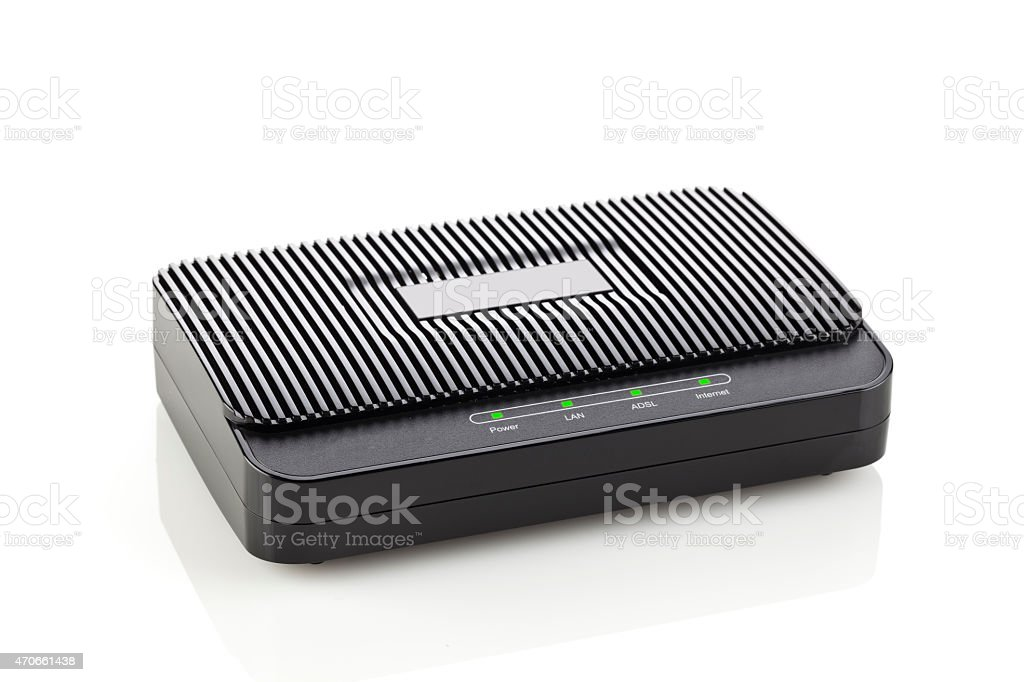 Cable modem isolated on reflective white backdrop stock photo