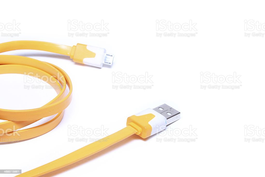 USB cable on white background royalty-free stock photo